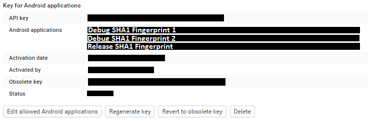 Android SHA1 Fingerprints
